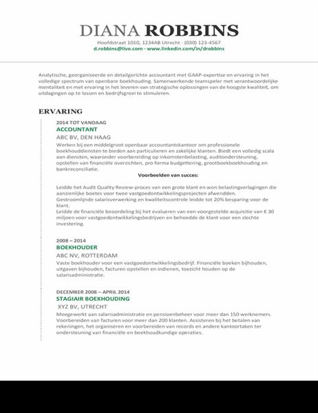 Curriculum vitae boekhouding