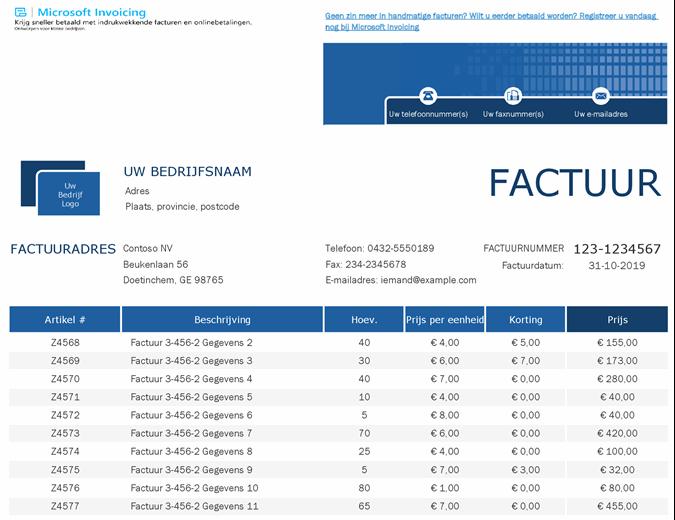 Verkoop factuurtracker met Microsoft Invoicing