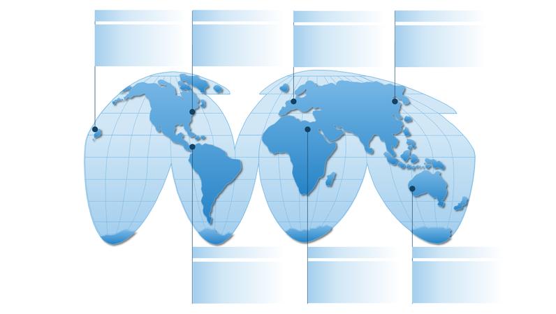 Graphic met pseudo-cilindrische wereldkaart
