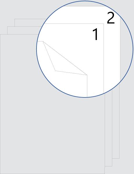 Dubbelzijdige nummering voorblad (boven)