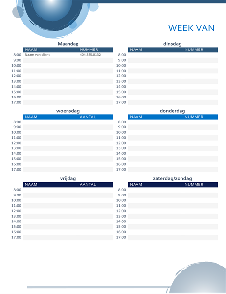 Agenda voor dagelijkse afspraken met blauwe bollen