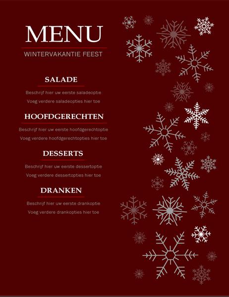 Elegant menu vakantie