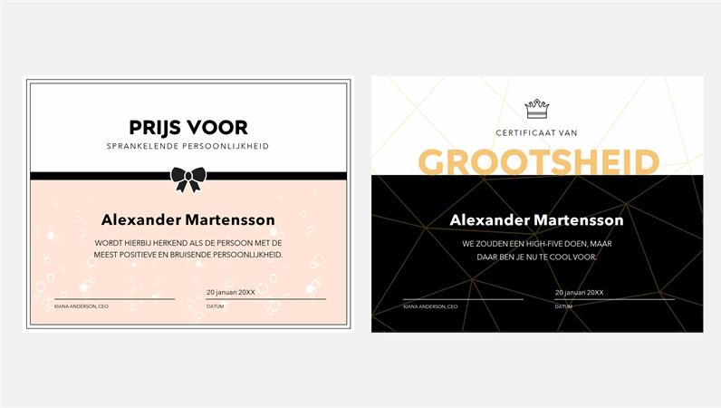 Grappige certificaten