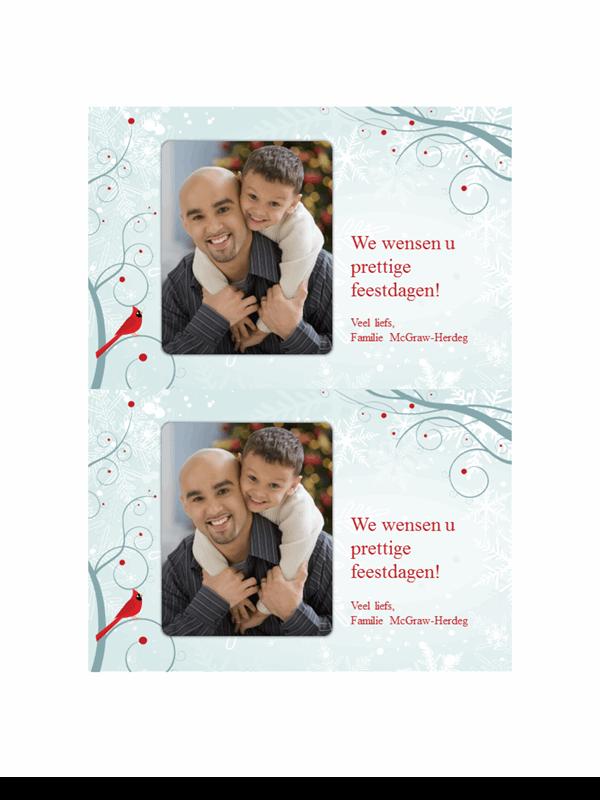 Kerstfotokaarten met sneeuwvlok (twee per pagina)