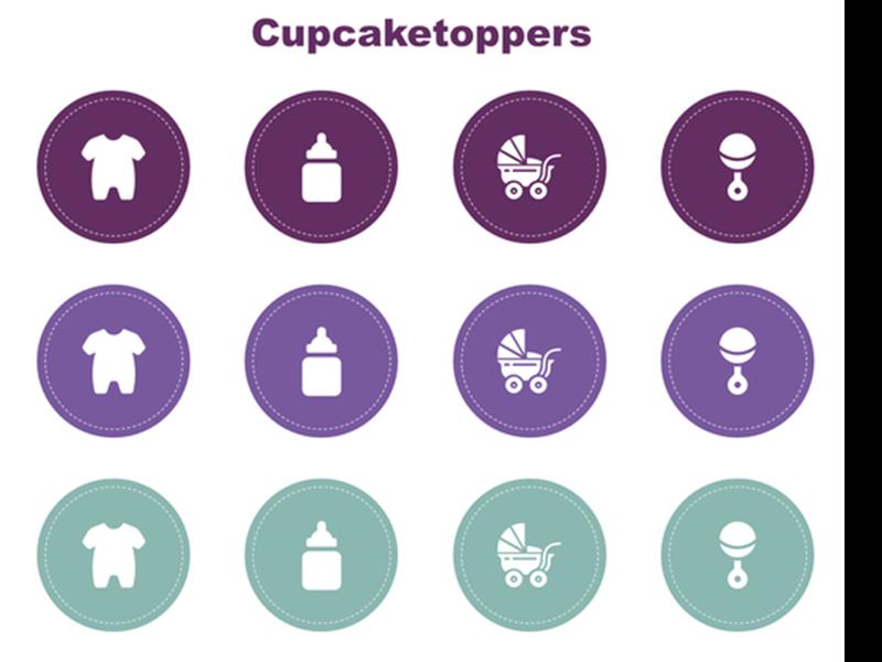 Cupcaketoppers voor babyshower