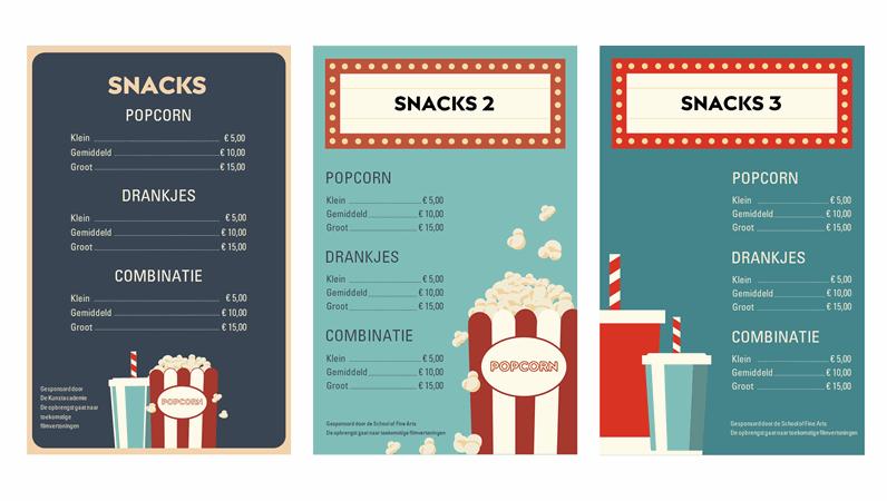 Posters voor filmavondsnacks