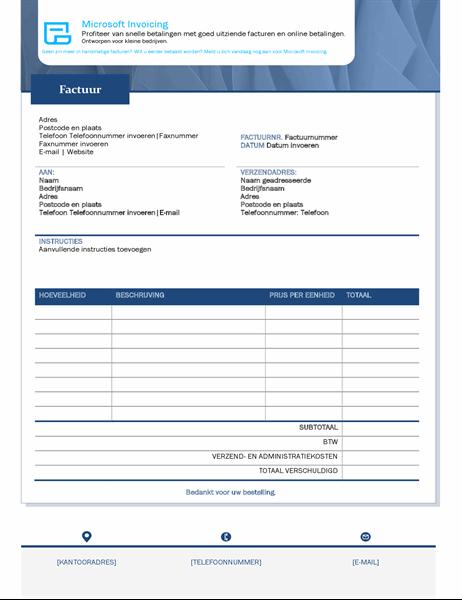 Standaard facturering met Microsoft Invoicing