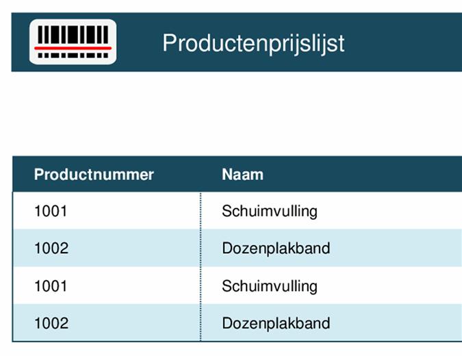 Productenprijslijst