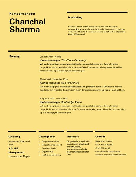 CV in Zwitserse stijl