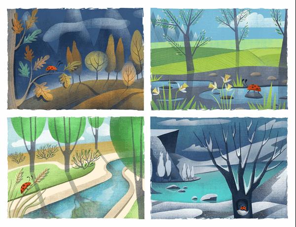 Briefkaarten met lieveheersbeestjes