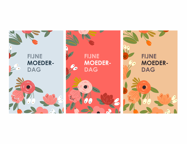 Moederdagkaart met elegant bloemenmotief