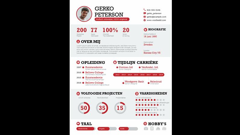 Vetgedrukte infographic CV