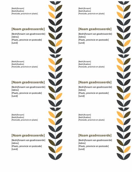 Etiketten met wijnstokken (6 per pagina)