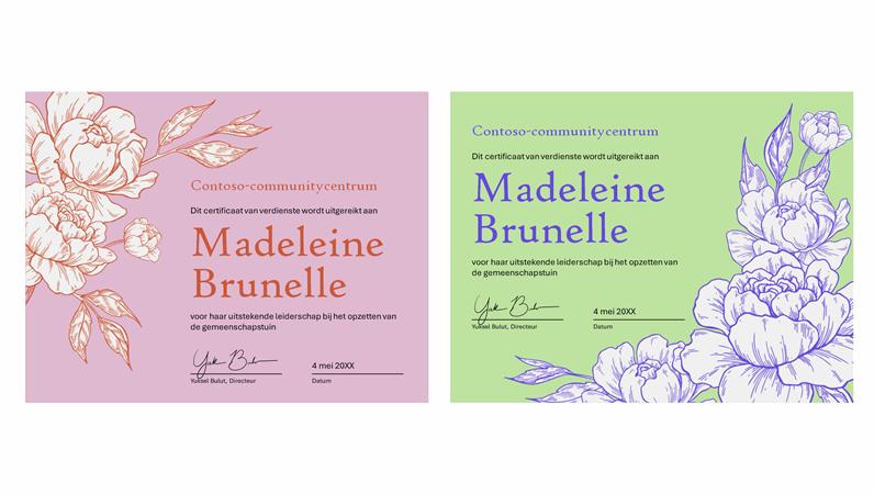 Certificaat van verdienste met bloemenopdruk