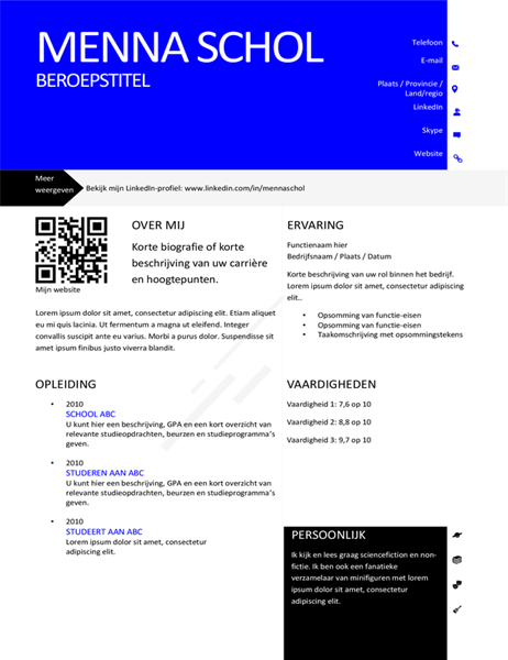 Moderne CV met QR-code