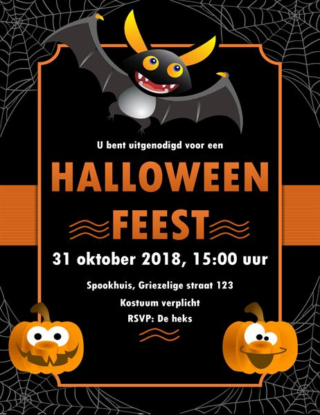 Halloween-uitnodiging met vleermuis