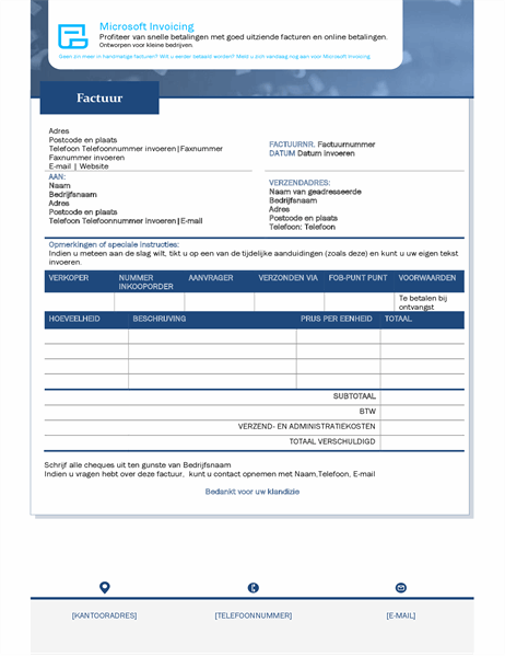 Factureer met Microsoft Invoicing