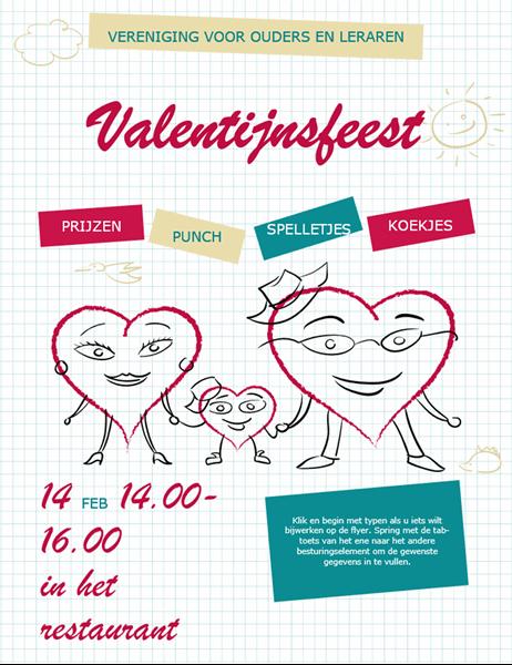 Valentijnskaart met hartfiguurtjes