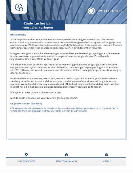 Brief van gezondheidszorg over verlopen uitkeringen