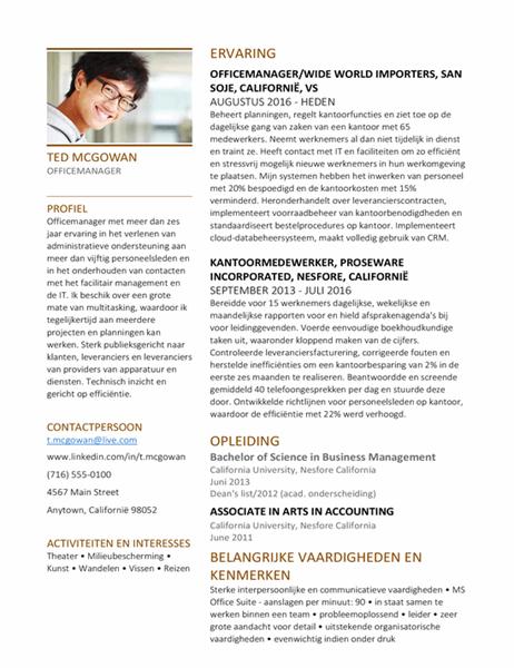 Kantoormanager-CV