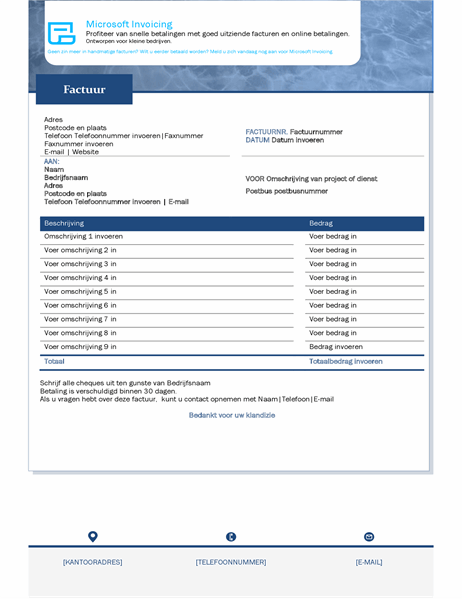 Servicefactuur met Microsoft Invoicing