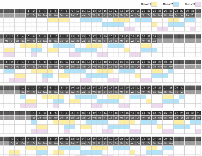 Werkkalender voor ploegendienst