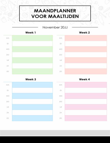Planner voor maandmenu