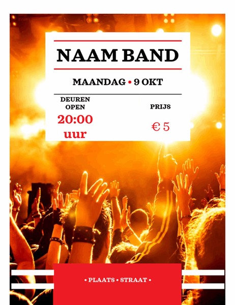 Concertflyer met rode band