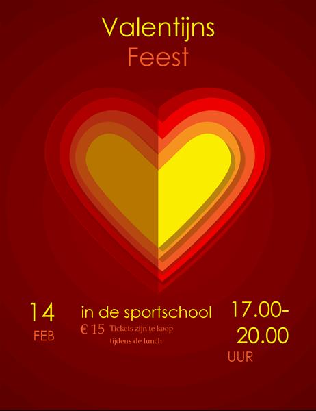 Hartjes in hartjes Valentijnsdag flyer