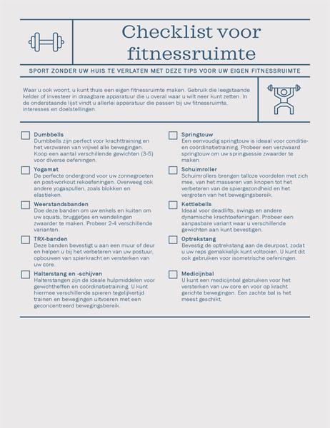 Checklist voor fitnessruimte