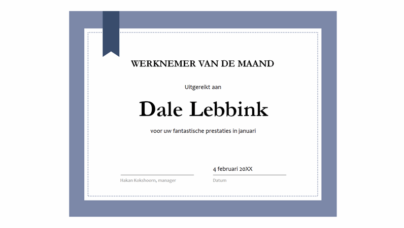 Certificaat voor de werknemer van de maand