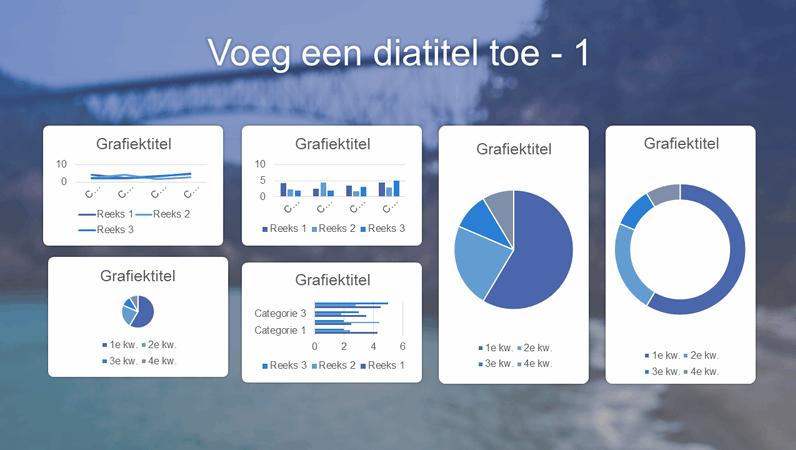Blauw dashboard met zes diagrammen