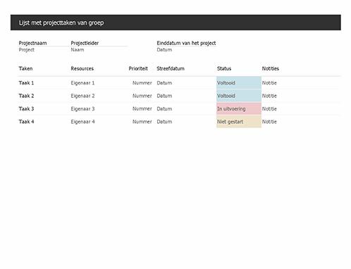 Lijst met projecttaken van groep