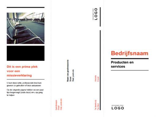 In drieën gevouwen zakelijke brochure (zwart, rood ontwerp)