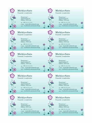 Visitekaartjes (afbeelding van bloem, 10 per pagina)