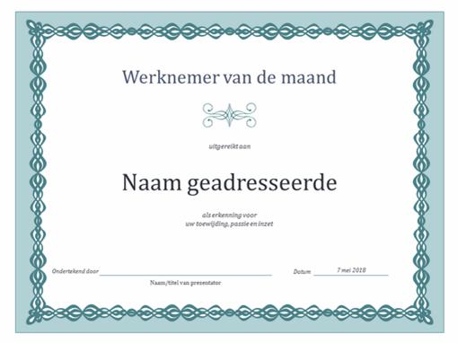 Certificaat voor werknemer van de maand (blauwe ketting)