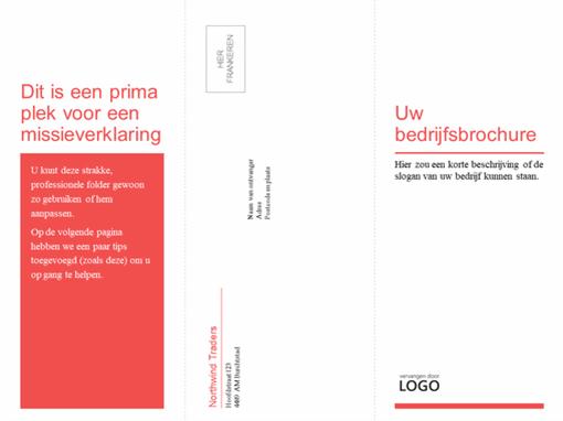 In drieën gevouwen zakelijke, medische brochure (rood, wit ontwerp)