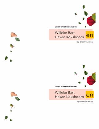 Bruiloftsuitnodiging met bloemen
