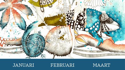 Kwartaalkalender met kameleon