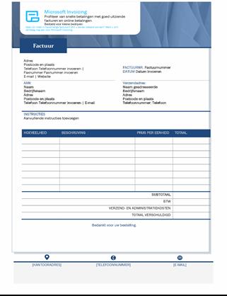 Standaardverkoopfactuur met Microsoft Invoicing