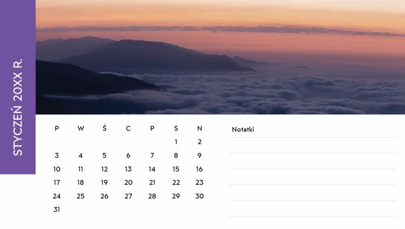 Kalendarz ze zdjęciami krajobrazów