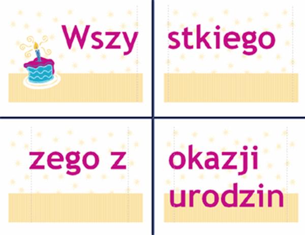 Transparent z życzeniami urodzinowymi