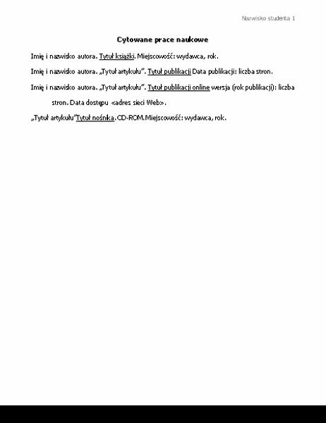 Cytowane prace naukowe (bibliografia w formacie MLA)