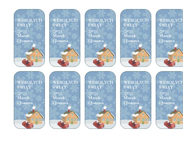 Karty dołączane do prezentów świątecznych (z ośnieżonym domem, pasuje do etykiet Avery 5871, 8871, 8873, 8876 i 8879)