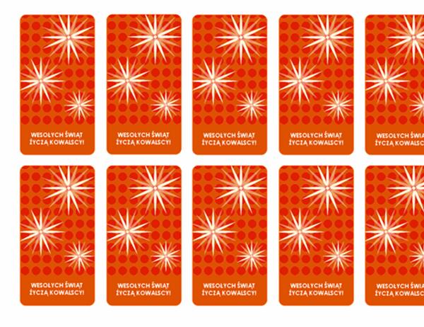 Karty dołączane do prezentów świątecznych (z płatkami śniegu, pasuje do etykiet Avery 5871, 8871, 8873, 8876 i 8879)