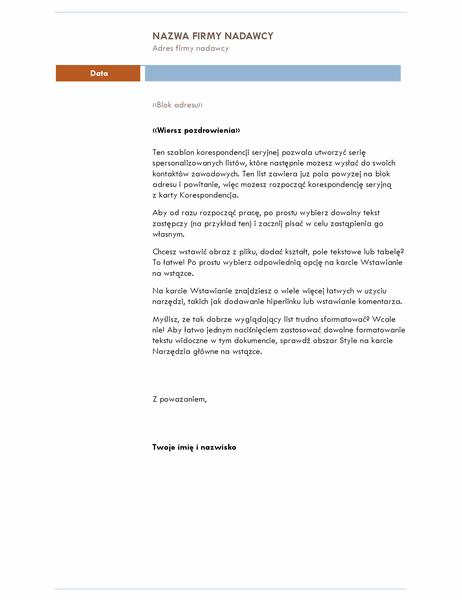 List korespondencji seryjnej (motyw Średni)