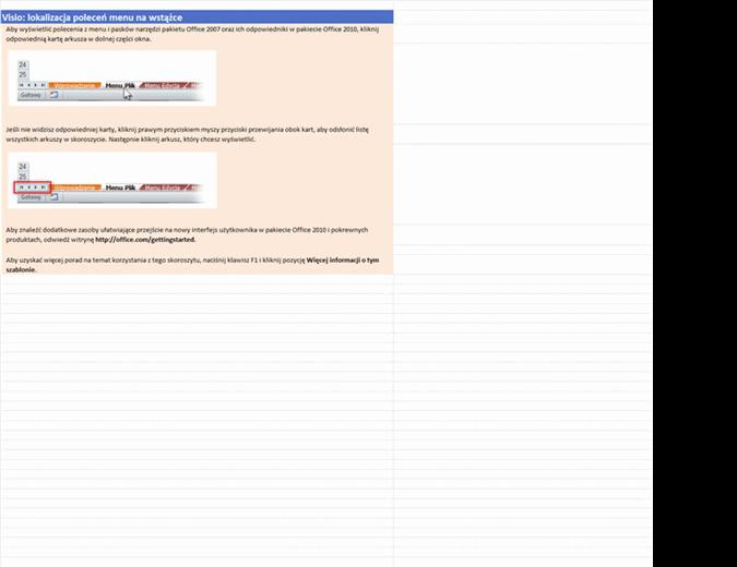Visio 2010: skoroszyt lokalizacji poleceń menu na wstążce