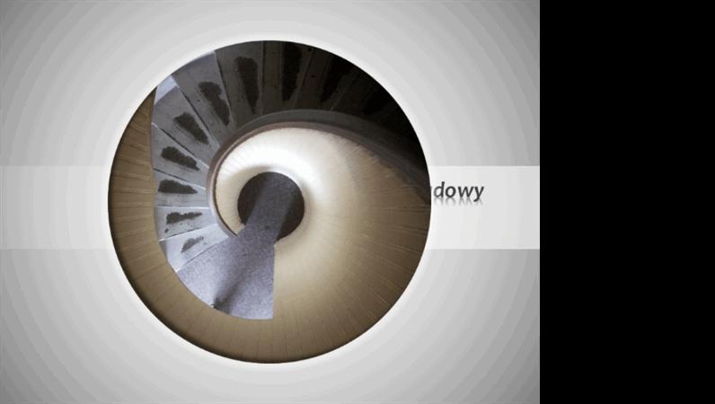 Animowany obraz przylatujący wzdłuż spirali i kurczący się, z tytułem