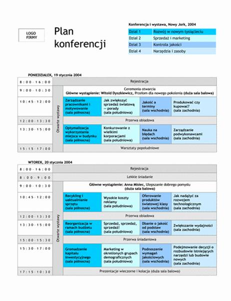 Plan konferencji z działami tematycznymi