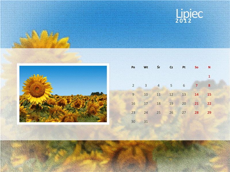 Kalendarz na rok 2012 z fotografiami — trzeci kwartał